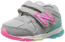 New Balance Girls' 888v1 Hook and Loop Running Shoe, Silver Mink/Rainbow