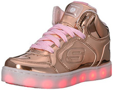 Skechers Kids Energy Lights-Dance-N-Dazzle Sneaker,Rose Gold