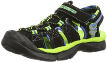 Skechers Kids 92187L Relix Sandal (Little Kid/Big Kid) (Black/Lime)