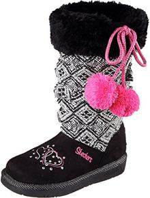Skechers Girls Twinkle Toes: Glamslam - LIL Lovelies Pom Pom Boot Black Size 11 Little Kid M