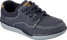Skechers Boys' Relaxed Fit Maddox Axor Boat Shoe,Navy