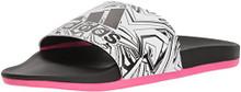 adidas Women's Adilette Comfort Sport Sandal, White/Black/Shock Pink