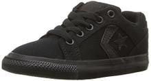 Converse Boys' EL Distrito Twill Low Top Sneaker, Black/Black/Black