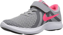 NIKE Girls' Revolution 4 (PSV) Running Shoe, Wolf Grey/Racer Pink