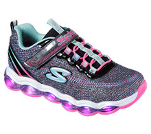 Skechers Kids Girls' Glimmer Lights Sneaker, Black/Multi