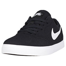NIKE Boy's SB Check Canvas Skateboarding Shoes Black/White