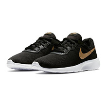 NIKE Boy's Tanjun (GS) Running Shoes  Black/Metallic Gold/White