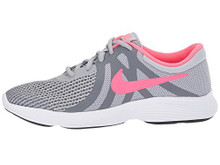 NIKE Girls' Revolution 4 (GS) Running Shoe, Wolf Grey/Racer Pink-Cool Grey-White