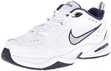 Nike Men's NIKE AIR MONARCH IV (4E) RUNNING SHOES White / Metallic Silver-Midnight Navy