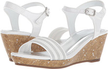 Nine West Girls' Emily 2 Wedge Sandal, White Patent