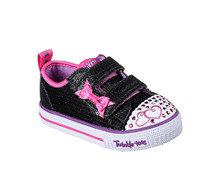 Skechers 10764N Toddlers Twinkle Toes: Shuffles - Itsy Bitsy Shoes, Black/Hot Pink