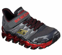 Skechers 97562L Boy's Mega Flex: Mega Blade Lite Shoes, Charcoal/Red