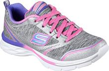 Skechers Girls' Dream N Dash Pep It Up Sneaker,Gray/Pink