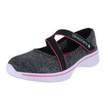 Skechers Girls' GOwalk 4 Jersey Gems Mary Jane Sneaker,Black/Hot Pink