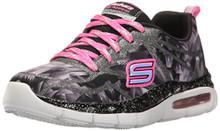 Skechers Kids Girls' Air-Appeal-Glitztastic Sneaker,Black/White/Pink,