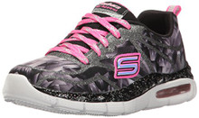 Skechers Kids Girls' Air-Appeal-Glitztastic Sneaker,Black/White/Pink,
