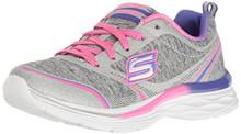 Skechers Kids Girls' Dream N'Dash-PEP IT up Sneaker,Gray/Pink,