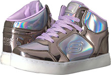Skechers Kids Girls' Energy Lights-10943L Sneaker,Gunmetal/Purple,