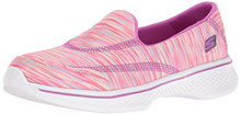 Skechers Kids Girls' Go Walk 4 Sporty Stripes Slip-On Sneaker,Pink/Multi