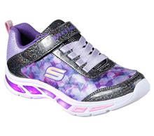 Skechers Kids Girls' Litebeams-Dance N'Glow Sneaker,Black/Lavender