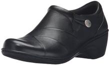 CLARKS Women's Channing Ann Slip-on Loafer, Black Leather, 8 W US
