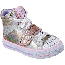 Skechers 10854L Girl's Twinkle Toes: Shuffles - Miss Metallic Shoes, Rose Gold - 13