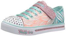Skechers Girls' Sparkle Glitz-Shiny Spirit Sneaker,White/Mint, Little Kid
