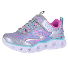 Skechers Kids' Galaxy Lights Sneaker,Silver/Multi, Little Kid