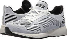 BOBS from Skechers Women's Bobs Squad-Twinning Fashion Sneaker, White/Black