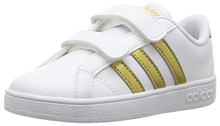 adidas Boys' Baseline CMF Inf Sneaker, White/Matte Gold/Black Infant