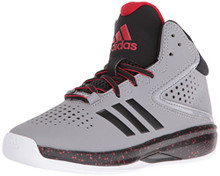 adidas Boys' Cross 'Em up 2016 Wide Basketball Shoe, Light Onix/Black/Light Scarlet Little Kid