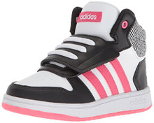 adidas Kids' Hoops Mid 2.0 Sneaker, Core Black, Real Pink s, FTWR White Toddler