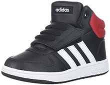 adidas Kids' Hoops Mid 2.0, Core Black/White/Scarlet Toddler