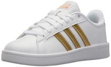 adidas Women's CF Advantage W Sneaker, FTWR White, Matte Gold, Core Black