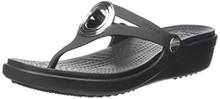 Crocs Women's Sanrah Beveled Circle Sandal, Black/Black