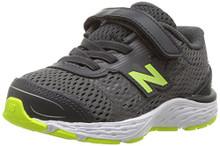 New Balance Boys' 680V5 Hook and Loop Running Shoe, Magnet/Hi Lite Toddler