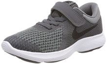 NIKE Boy's Revolution 4 (PSV) Running Shoes (Dark Grey/Black-Cool Grey-White)