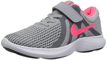 NIKE Girls' Revolution 4 (PSV) Running Shoe, Wolf Grey/Racer Pink-Cool Grey-White Little Kid
