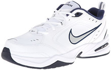 NIKE Men's Air Monarch IV (4E) Athletic Shoe, white/metallic silver - midnight navy, 9.0 4E US