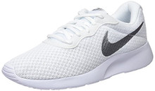 NIKE Mens Air Monarch IV Suede Low Top Lace up, White/Metallic Silver, Size 8.0