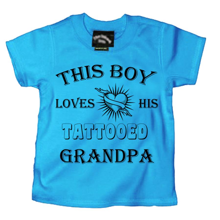 Kids THIS BOY LOVES HIS TATTOOED GRANDPA - TSHIRT