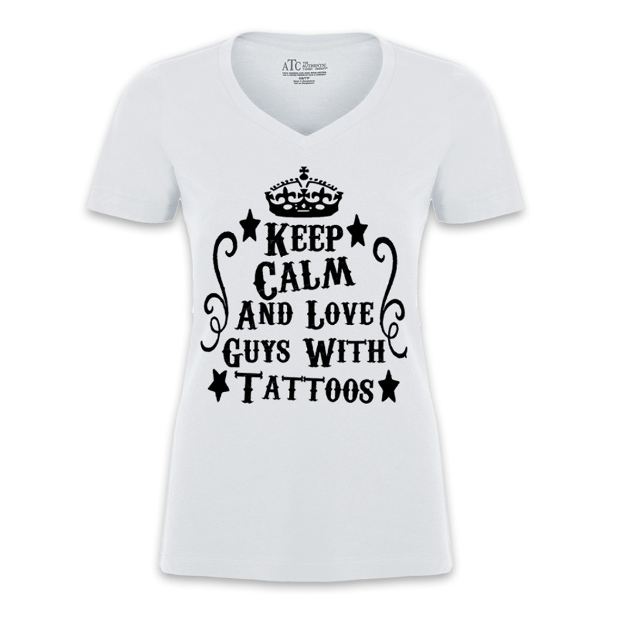 Women's KEEP CALM AND LOVE GUYS WITH TATTOOS - TSHIRT