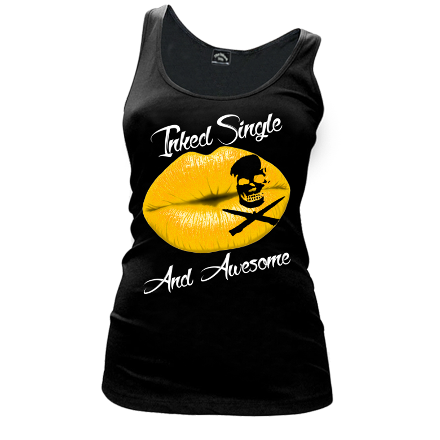 Women's Inked Single And Awesome - TANK TOP
