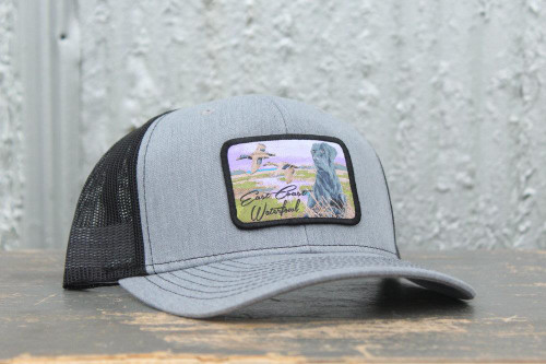East Coast Waterfowl Heather Gray & Black Lab Patch Snap Back Hat - 400001697993