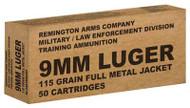 Remington Military/LE Training 9mm 115 Grain Full Metal Jacket 50 Per Box - 047700479200