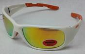 Elvex Safety Sunglasses White frame/Orange mirror