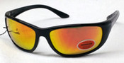 Elvex Safety Sunglasses Black frame/Red mirror