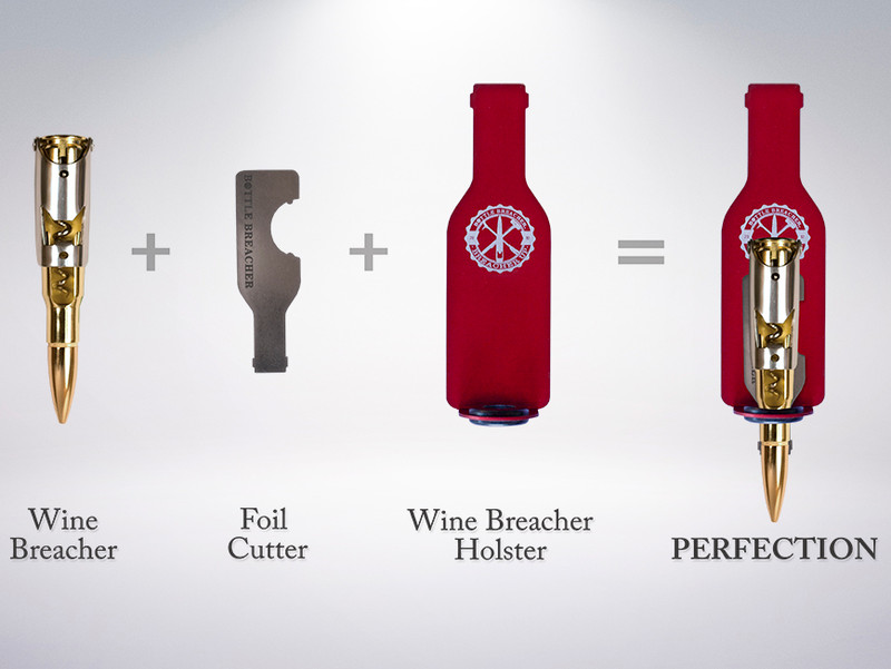 Each Wine Holster contains stainless steel foil cutter and magnet with industrial grade adhesive.