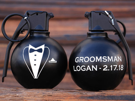 NEW Tuxedo Freedom Frags by Bottle Breacher!!  Personalized gift for your Groomsmen!