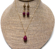 Handmade Ruby Noble Grace Necklace and Earrings.
